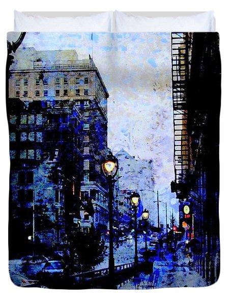 Street Lamps Sidewalk Abstract Duvet Cover