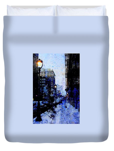 Street Lamps Sidewalk Abstract Duvet Cover