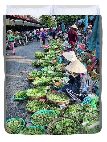 Street Market Hoi An Duvet Cover by Chuck Kuhn