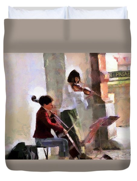 Duvet Cover featuring the painting Street Muscians by Wayne Pascall