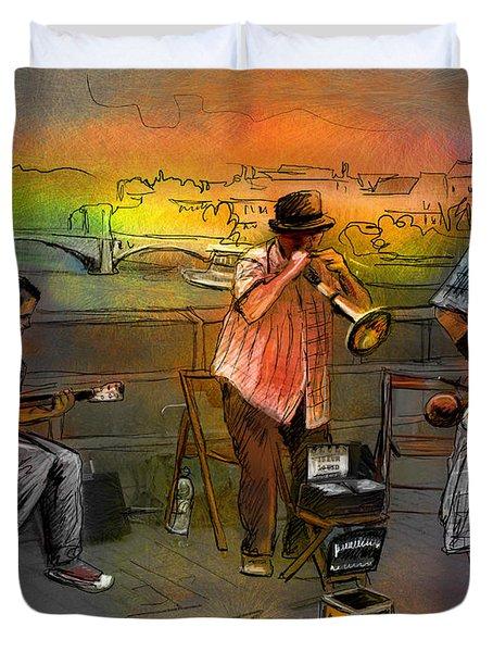 Street Musicians In Prague In The Czech Republic 03 Duvet Cover by Miki De Goodaboom