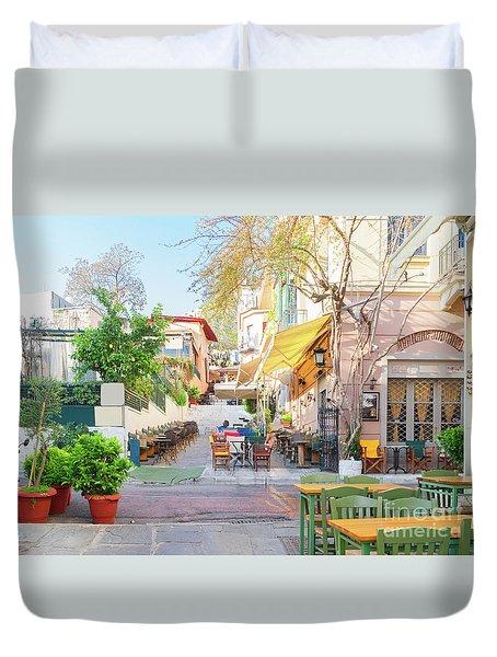 Street Of Athens, Greece Duvet Cover