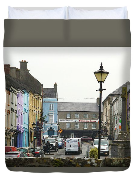 Duvet Cover featuring the photograph Streets Of Cahir by Marie Leslie