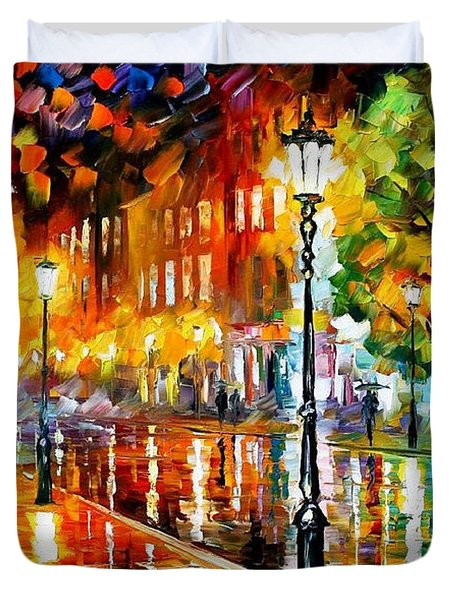 Street Of Illusions - Palette Knife Oil Painting On Canvas By Leonid Afremov Duvet Cover
