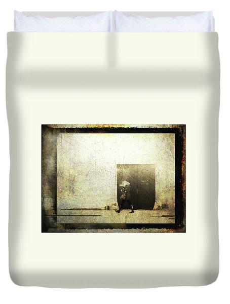 Street Photography - Closed Door Duvet Cover by Siegfried Ferlin