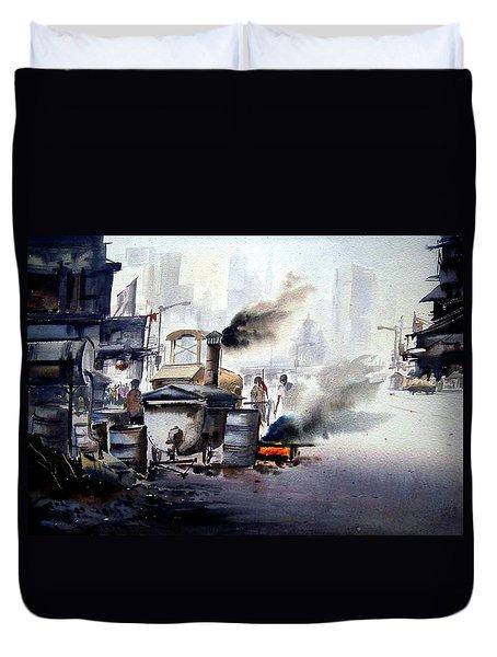 Duvet Cover featuring the painting Street Repairing  by Samiran Sarkar