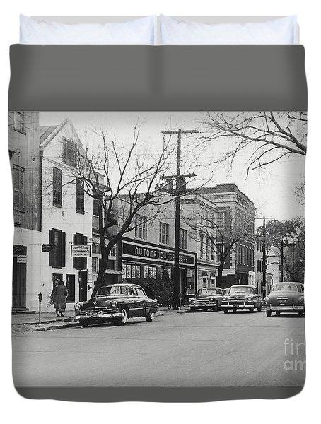 Street Scene Charleston South Carolina 1953 Duvet Cover