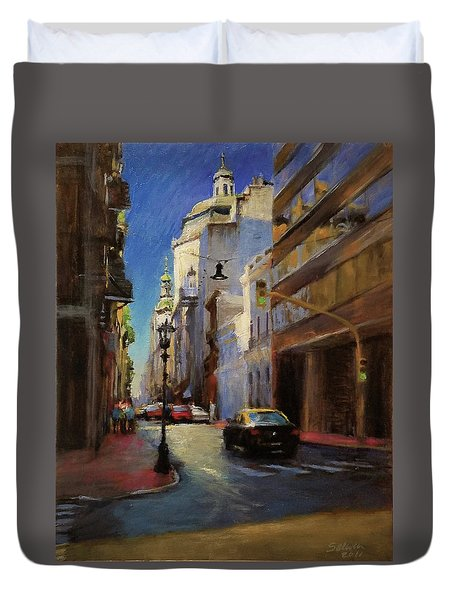 Street Scene In Buenos Aires Duvet Cover by Peter Salwen