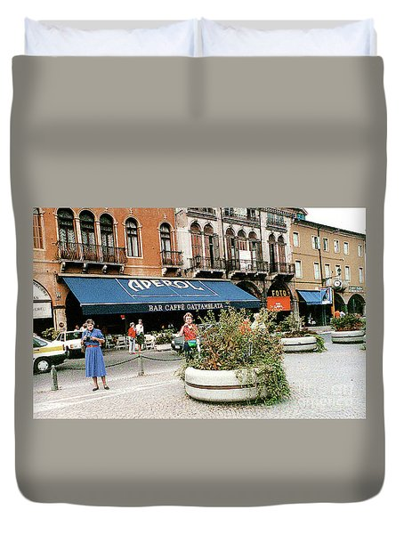 Duvet Cover featuring the photograph Street Scene In Padua, Italy by Merton Allen
