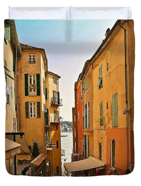 Street Scene In Villefranche Duvet Cover by Steven Sparks