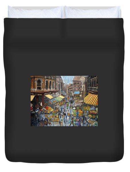 Street Scene Market Duvet Cover