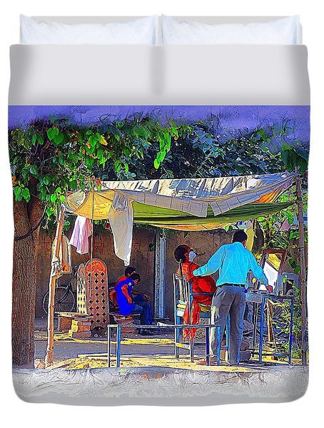 Street Scenes The Barber Exotic Travel Jaipur Rajasthan India 1a Duvet Cover