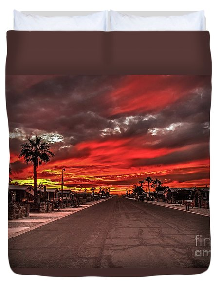 Duvet Cover featuring the photograph Street Sunset by Robert Bales