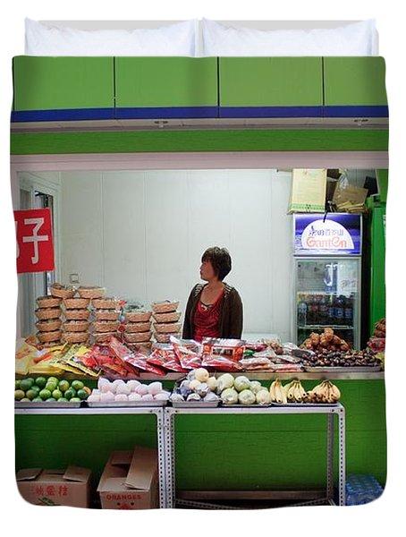Street Vendor  Beijing Duvet Cover by Thomas Marchessault