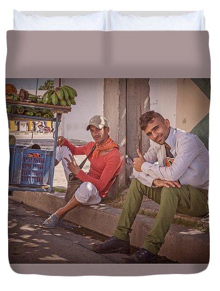 Duvet Cover featuring the photograph Street Vendors In Cienfuegos Cuba by Joan Carroll
