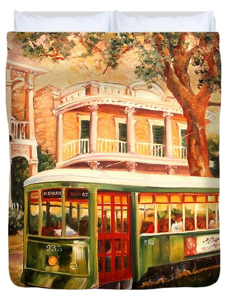 Streetcar In The Garden District Duvet Cover