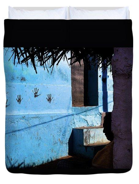 Streetcorner, Kanyakumari Duvet Cover by Marji Lang