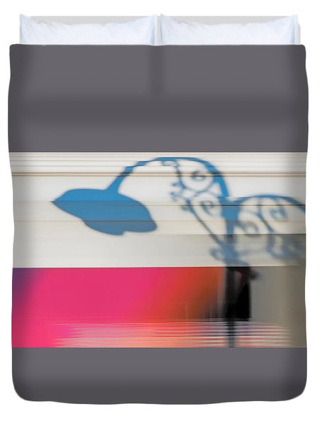Duvet Cover featuring the photograph Streetlamp Shadow On Moving Train by Gary Slawsky