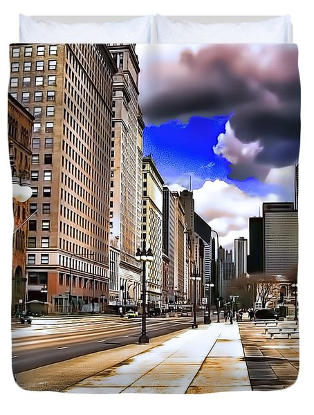 Streets Of Chicago Duvet Cover