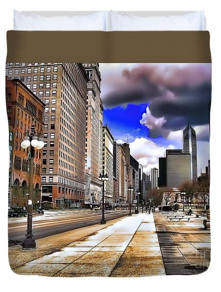 Duvet Cover featuring the digital art Streets Of Chicago by Kathy Tarochione