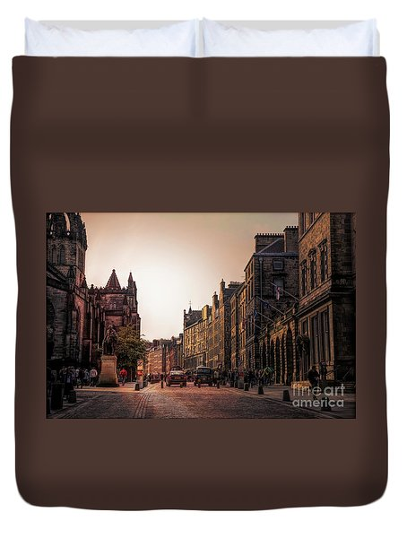 Streets Of Edinburgh Scotland  Duvet Cover
