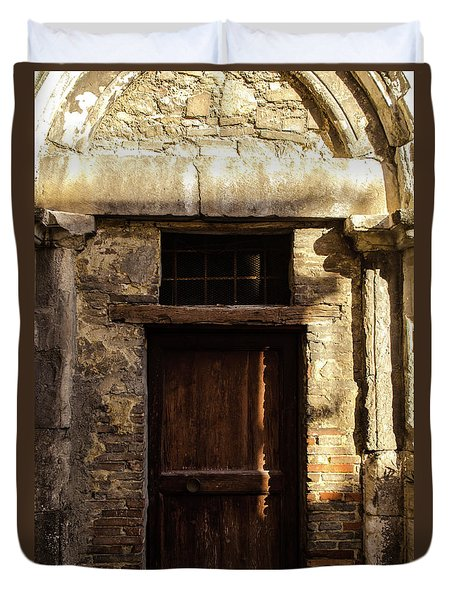 Streets Of Italy - An Ancient Door Duvet Cover by Andrea Mazzocchetti