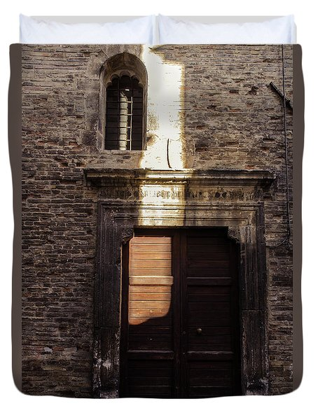 Streets Of Italy - An Ancient Door 2 Duvet Cover by Andrea Mazzocchetti