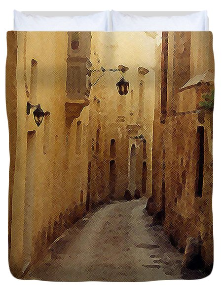 Duvet Cover featuring the photograph Streets Of Malta by Debbie Karnes