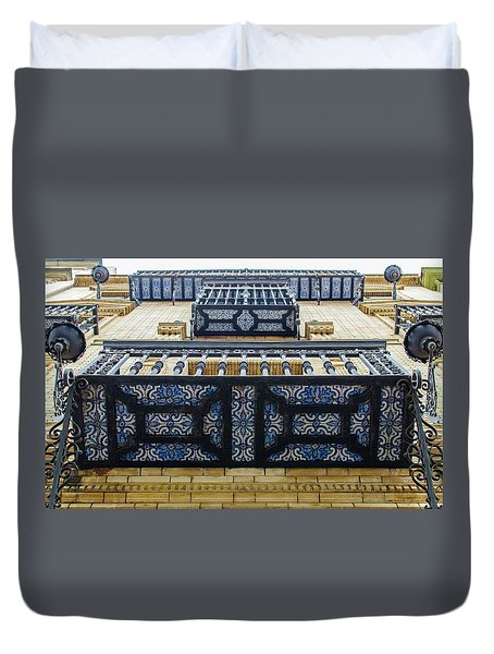 Streets Of Seville - Azulejos Duvet Cover by Andrea Mazzocchetti