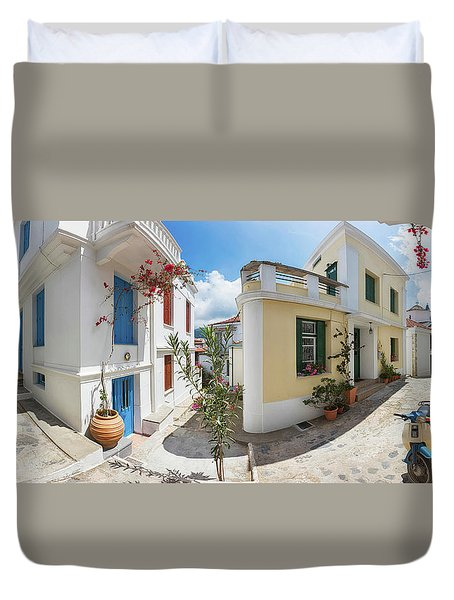 Streets Of Skopelos Duvet Cover by Evgeni Dinev