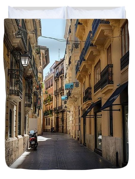 Streets Of Valencia, Spain.  #europe Duvet Cover