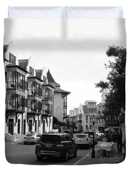 Streetscape In Rosemary Beach Duvet Cover