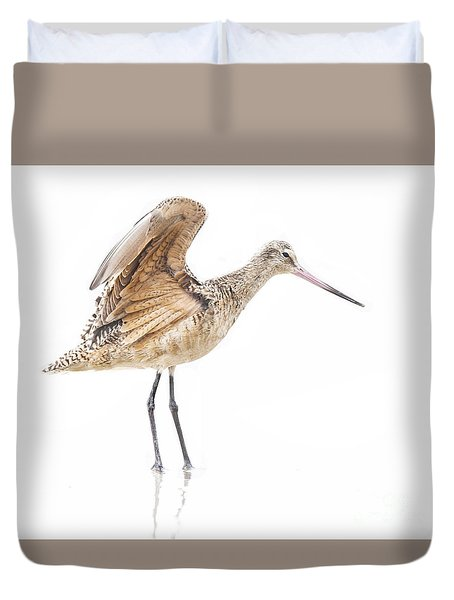 Duvet Cover featuring the photograph Stretching Godwit by Ruth Jolly