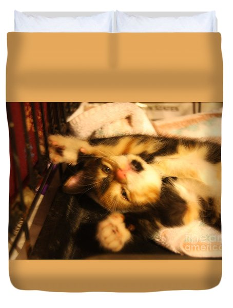 Stretching Kitty Duvet Cover by Wendy Coulson