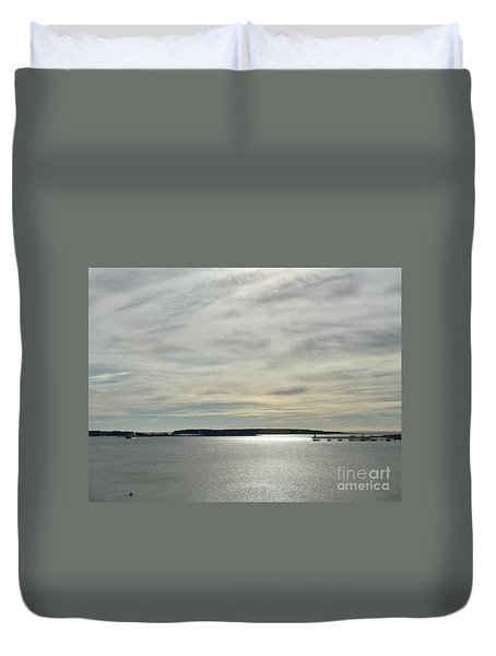 Striated Sky Over Casco Bay Duvet Cover