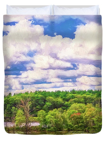 Striking Clouds Above Small Water Inlet And Green Trees Duvet Cover