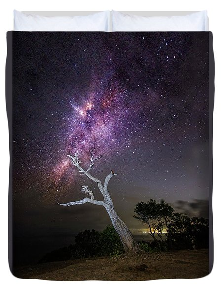 Duvet Cover featuring the photograph Striking Milkyway Over A Lone Tree by Pradeep Raja Prints