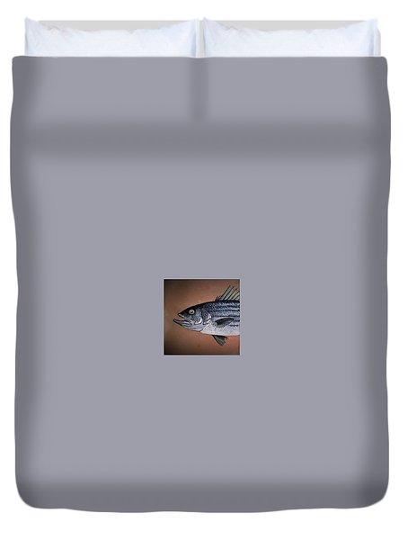 Striped Bass 1 Duvet Cover by Andrew Drozdowicz