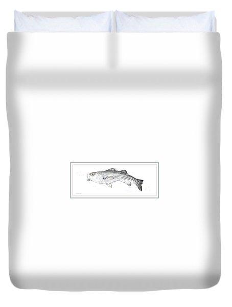Duvet Cover featuring the digital art Striped Bass by A Gurmankin