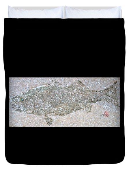 Striped Bass On White Thai Unryu  Duvet Cover