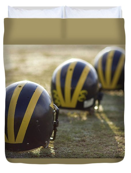 Striped Helmets On A Yard Line Duvet Cover