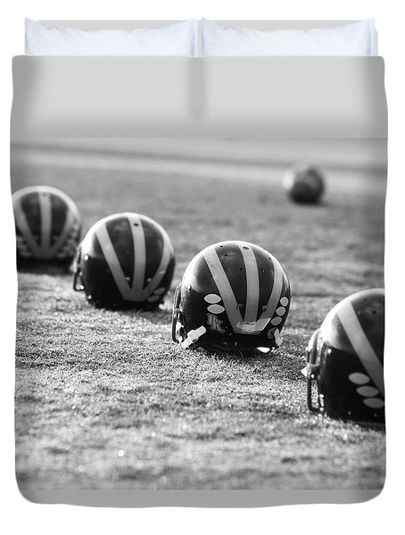 Striped Helmets On The Field Duvet Cover
