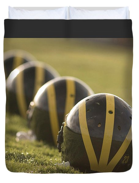 Striped Helmets On Yard Line Duvet Cover