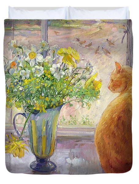 Striped Jug With Spring Flowers Duvet Cover by Timothy Easton