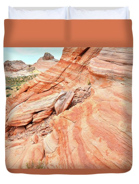 Duvet Cover featuring the photograph Striped Sandstone Along Park Road In Valley Of Fire by Ray Mathis