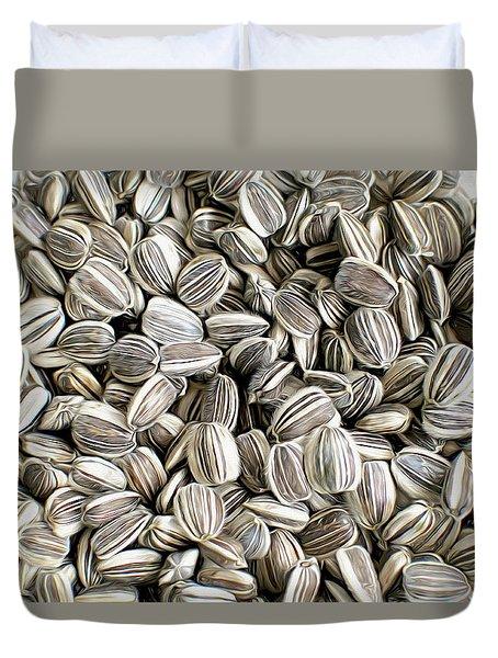 Striped Sunflower Seeds Photo Art Duvet Cover