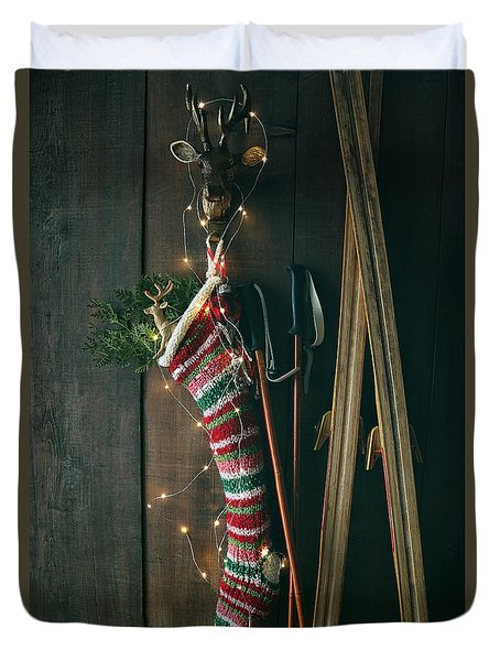 Striped Wool Stocking With Old Skis And Sparkling Lights Duvet Cover