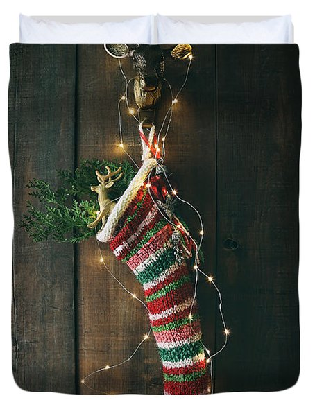 Striped Wool Stocking With Sparkling Lights Duvet Cover