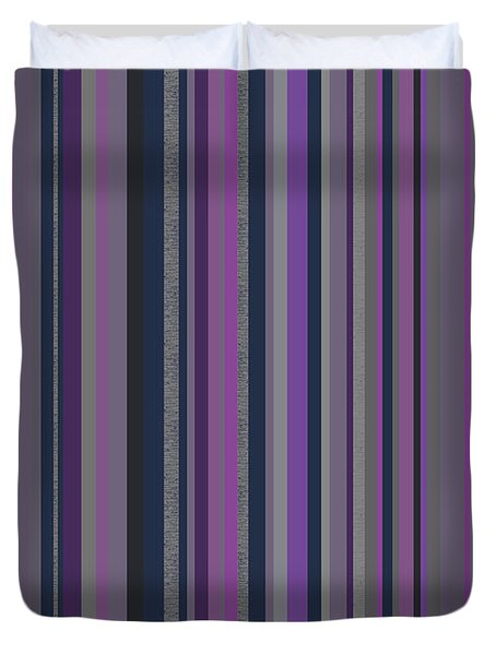 Stripes In Grayed Lavender Duvet Cover