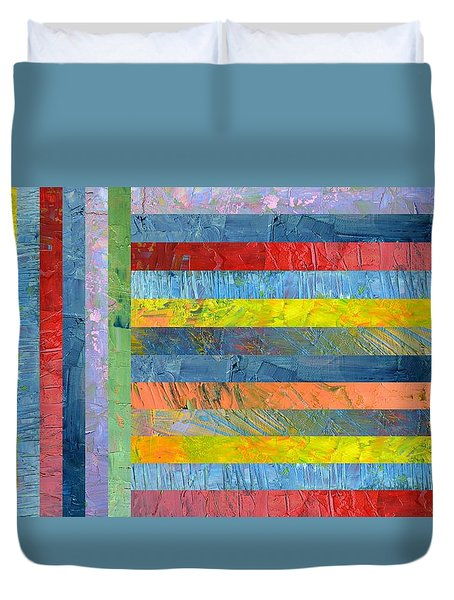 Stripes With Blue And Red Duvet Cover by Michelle Calkins